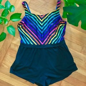 Vintage 90s rainbow striped one piece swimsuit XL